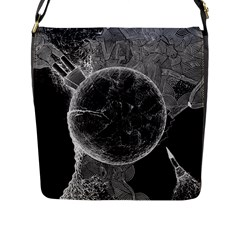 Space Universe Earth Rocket Flap Messenger Bag (l)