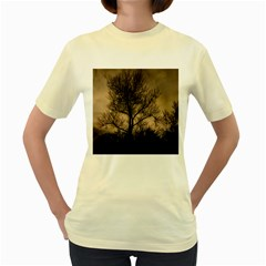 Tree Bushes Black Nature Landscape Women s Yellow T Shirt