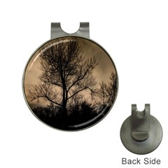 Tree Bushes Black Nature Landscape Hat Clips With Golf Markers