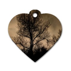 Tree Bushes Black Nature Landscape Dog Tag Heart (one Side)