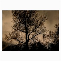 Tree Bushes Black Nature Landscape Large Glasses Cloth
