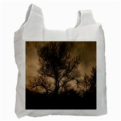 Tree Bushes Black Nature Landscape Recycle Bag (one Side)