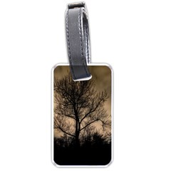 Tree Bushes Black Nature Landscape Luggage Tags (two Sides)