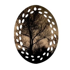 Tree Bushes Black Nature Landscape Oval Filigree Ornament (two Sides)