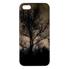 Tree Bushes Black Nature Landscape Apple Iphone 5 Premium Hardshell Case