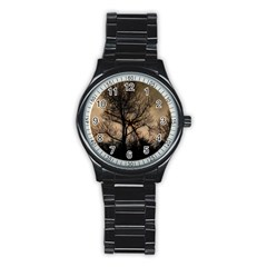 Tree Bushes Black Nature Landscape Stainless Steel Round Watch