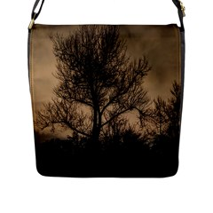 Tree Bushes Black Nature Landscape Flap Messenger Bag (l)