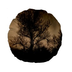 Tree Bushes Black Nature Landscape Standard 15  Premium Flano Round Cushions by BangZart