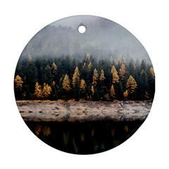 Trees Plants Nature Forests Lake Ornament (round)