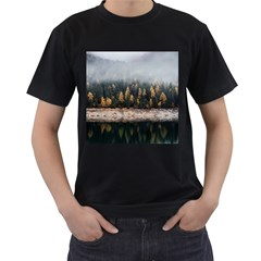 Trees Plants Nature Forests Lake Men s T Shirt (black) (two Sided)