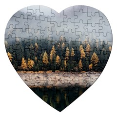 Trees Plants Nature Forests Lake Jigsaw Puzzle (heart)