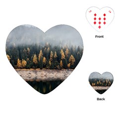Trees Plants Nature Forests Lake Playing Cards (heart)  by BangZart
