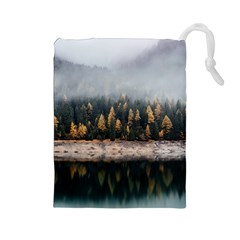 Trees Plants Nature Forests Lake Drawstring Pouches (large)  by BangZart