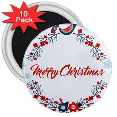 Merry Christmas Christmas Greeting 3  Magnets (10 Pack)  by BangZart