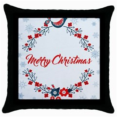 Merry Christmas Christmas Greeting Throw Pillow Case (black) by BangZart