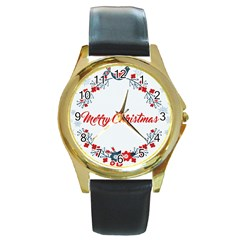 Merry Christmas Christmas Greeting Round Gold Metal Watch by BangZart