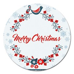 Merry Christmas Christmas Greeting Magnet 5  (round)