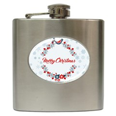 Merry Christmas Christmas Greeting Hip Flask (6 Oz)