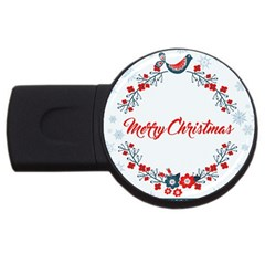 Merry Christmas Christmas Greeting Usb Flash Drive Round (4 Gb) by BangZart