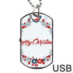 Merry Christmas Christmas Greeting Dog Tag Usb Flash (two Sides)