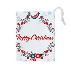 Merry Christmas Christmas Greeting Drawstring Pouches (large)