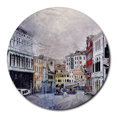 Venice Small Town Watercolor Round Mousepads