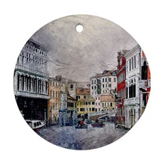 Venice Small Town Watercolor Ornament (round)