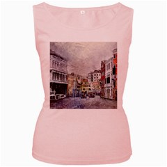 Venice Small Town Watercolor Women s Pink Tank Top