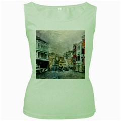 Venice Small Town Watercolor Women s Green Tank Top