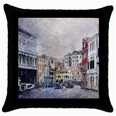 Venice Small Town Watercolor Throw Pillow Case (black)
