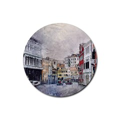 Venice Small Town Watercolor Rubber Round Coaster (4 Pack)