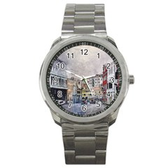 Venice Small Town Watercolor Sport Metal Watch