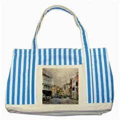 Venice Small Town Watercolor Striped Blue Tote Bag by BangZart