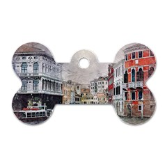 Venice Small Town Watercolor Dog Tag Bone (two Sides)