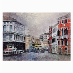 Venice Small Town Watercolor Large Glasses Cloth (2 Side) by BangZart