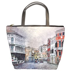 Venice Small Town Watercolor Bucket Bags by BangZart