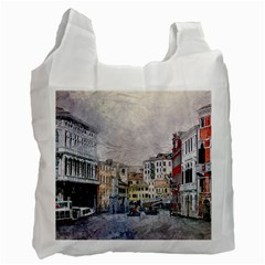Venice Small Town Watercolor Recycle Bag (two Side)  by BangZart