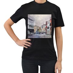 Venice Small Town Watercolor Women s T Shirt (black) by BangZart