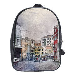Venice Small Town Watercolor School Bag (large) by BangZart