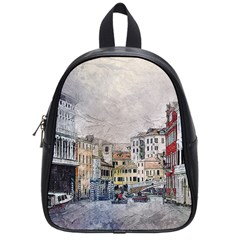 Venice Small Town Watercolor School Bag (small) by BangZart