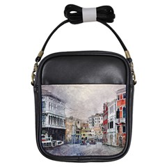 Venice Small Town Watercolor Girls Sling Bags by BangZart