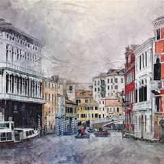 Venice Small Town Watercolor Magic Photo Cubes by BangZart
