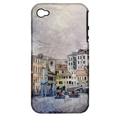 Venice Small Town Watercolor Apple Iphone 4/4s Hardshell Case (pc+silicone)