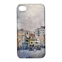 Venice Small Town Watercolor Apple Iphone 4/4s Hardshell Case With Stand