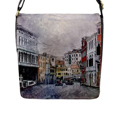 Venice Small Town Watercolor Flap Messenger Bag (l)  by BangZart