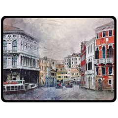 Venice Small Town Watercolor Double Sided Fleece Blanket (large)  by BangZart