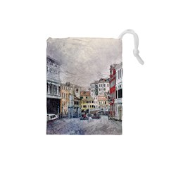 Venice Small Town Watercolor Drawstring Pouches (small)  by BangZart