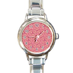 Tribal Pattern Hand Drawing Round Italian Charm Watch by Cveti