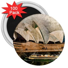 Sydney The Opera House Watercolor 3  Magnets (100 Pack)