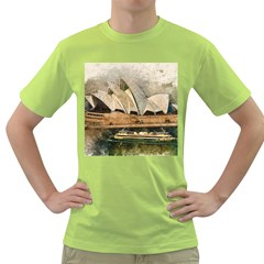 Sydney The Opera House Watercolor Green T Shirt